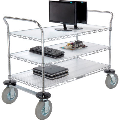 "Nexel® Utility Cart, 3 Shelf, Chrome, 48""L, x 24""W, x 42""H, Pneumatic Casters"