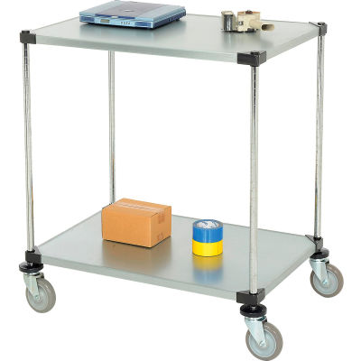 Nexel® Adjustable Solid Galvanized Shelf Cart 36x24 2 Shelves 800 Lb. Cap