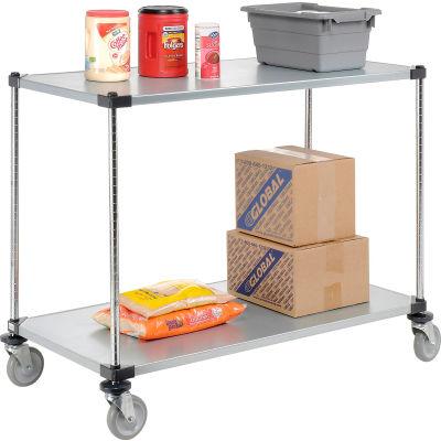 Nexel® Adjustable Solid Galvanized Shelf Cart 48x24 2 Shelves 800 Lb. Cap
