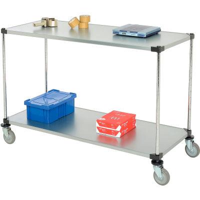Nexel® Adjustable Solid Galvanized Shelf Cart 60x24 2 Shelves 800 Lb. Cap