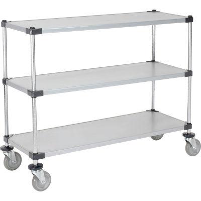 Nexel® Adjustable Solid Galvanized Shelf Cart 48x18 3 Shelves 800 Lb. Cap