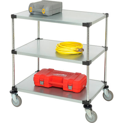 Nexel® Adjustable Solid Galvanized Shelf Cart 36x24 3 Shelves 800 Lb. Cap