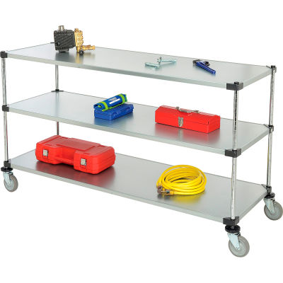 Nexel® Adjustable Solid Galvanized Shelf Cart 72x24 3 Shelves 800 Lb. Cap