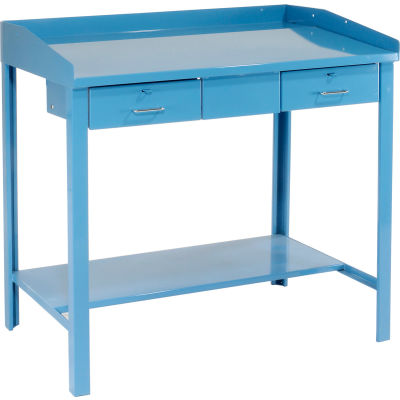 """Global Industrial™ Extra-Wide Shop Desk - 2 Drawers 48""""W x 30""""D x 43""""H Sloped Surface - Blue"""