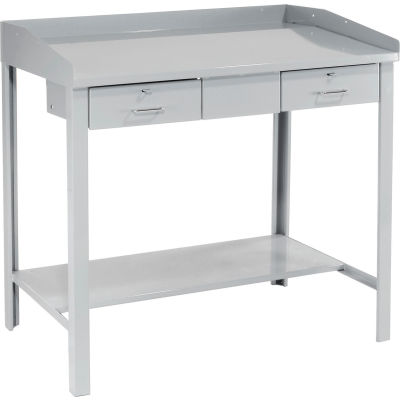 "Global Industrial™ Extra-Wide Shop Desk - 2 Drawers 48""W x 30""D x 43""H Sloped Surface - Gray"