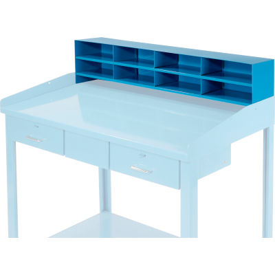 """Global Industrial™ 8 Pigeonhole Compartment Riser for Pucel 48""""W Extra-Wide Shop Desk - Blue"""