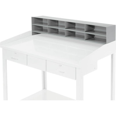 """Global Industrial™ 8 Pigeonhole Compartment Riser for Pucel 48""""W Extra-Wide Shop Desk - Gray"""