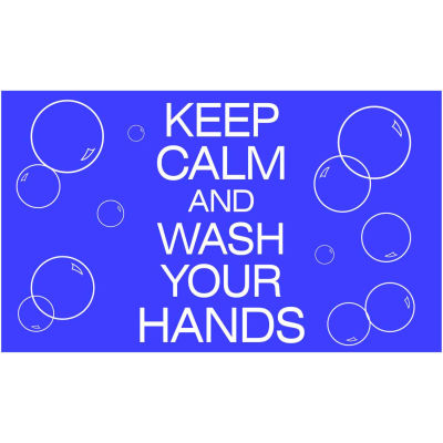 "NoTrax® Keep Calm and Wash Your Hands Safety Message Mat 3/8"" Thick 4' x 6' Blue"