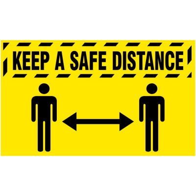 "NoTrax® Keep a Safe Distance Safety Message Mat 3/8"" Thick 4' x 6' Yellow"