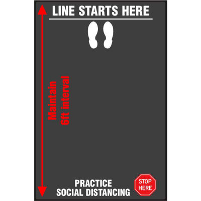 """NoTrax® Interval Line Safety Message Mat 3/8"""" Thick 4' x 12' Black"""
