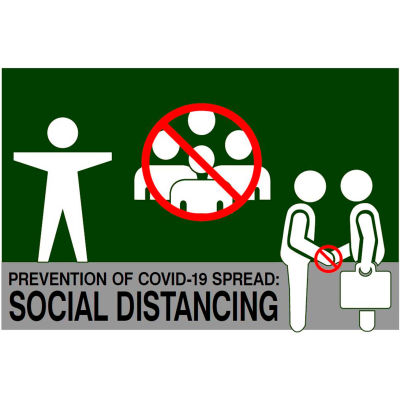 """NoTrax® Social Distancing Safety Message Mat 3/8"""" Thick 3' x 5' Green"""