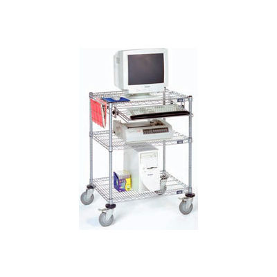 "Nexel™ 3-Shelf Mobile Wire Computer LAN Workstation w/Keyboard Tray, 30""W x 24""D x 39""H, Chrome"