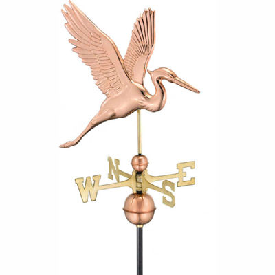Good Directions Graceful Blue Heron Weathervane - Polished Copper