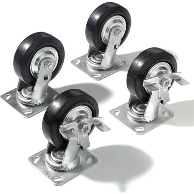 """Global Industrial™ Caster Kit 5"""" x 1 1/2"""" (4 Swivel, 2 With Brakes) With Mounting Plate"""