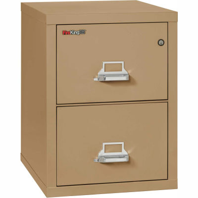 "Fireking Fireproof 2 Drawer Vertical File Cabinet - Legal Size 21""W x 25""D x 28""H - Sand"