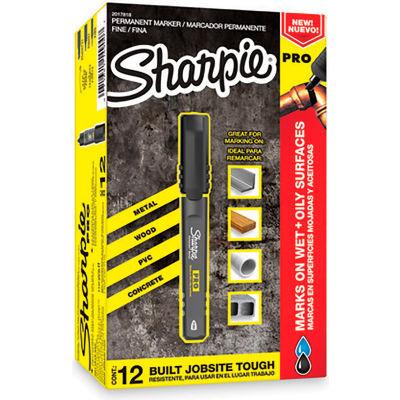 Sharpie® Pro Permanent Marker, Bullet Tip, Black Ink - Pkg Qty 12