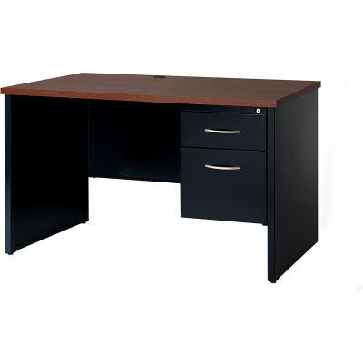 Hirsh Industries® Modular Steel Desk - Single Right Pedestal - 48 x 30 - Black/Walnut