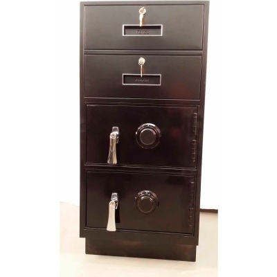 Fenco Pedestal Safe S-207R-I - 2 Drawers Thick Frame Right Hinged Door 19x19x38-1/2 Gray