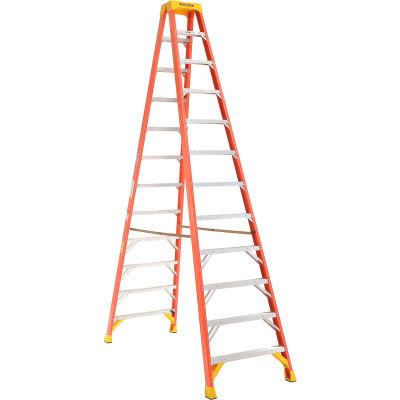 Werner 12' Dual Access Fiberglass Step Ladder 300 lb. Cap - T6212