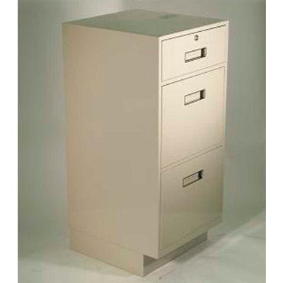 "Fenco Teller Pedestal Cabinet S-210-B - 1 Drawer 2 Legal Drawers 19""W x 19""D x 38-1/2""H Black"