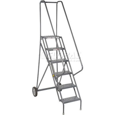 6 Step All-Terrain Rolling Steel Ladder - Perforated Tread - 450 Lbs. Capacity