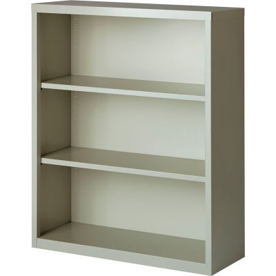 "Hirsh 3 Shelf Bookcase 34-1/2""W x 13""D x 42""H, Gray"