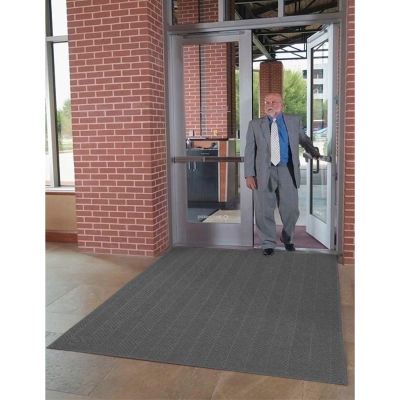 "WaterHog® Eco Elite Fashion Border Entrance Mat 3/8"" Thick 3' x 10' Black"