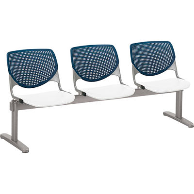 KFI Beam Seating Guest Chairs - 3 Seater - Navy/White