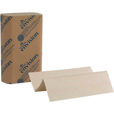 GP Envision Brown Multifold Paper Towels, 250 Towels/Pack, 16 Packs/Case - 23304