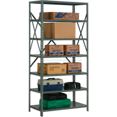 "Global Industrial™ Steel Shelving 20 Ga 36""Wx18""Dx73""H Open Clip Style 7 Shelf"