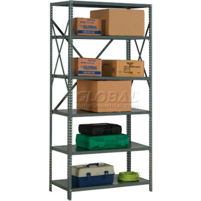 "Global Industrial™ Steel Shelving 20 Ga 48""Wx12""Dx73""H Open Clip Style 6 Shelf"