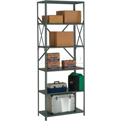 "Global Industrial™ Steel Shelving 20 Ga 48""Wx24""Dx97""H Open Clip Style 6 Shelf"
