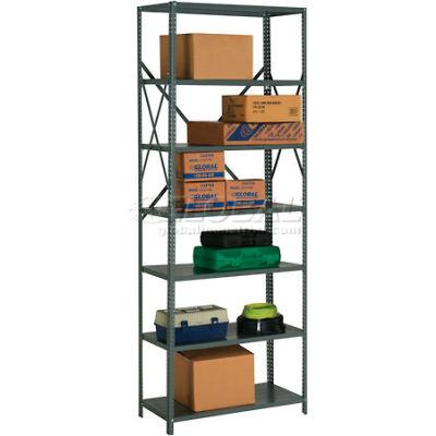 "Steel Shelving 18 Ga 36""Wx18""Dx97""H Open Clip Style 7 Shelf"