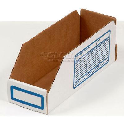 "Global Industrial™ Foldable Corrugated Shelf Bin 2""W x 18""D x 4-1/2""H, White - Pkg Qty 100"
