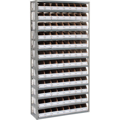 Global Industrial™ Steel Open Shelving with 96 Corrugated Shelf Bins 13 Shelves - 36x18x73