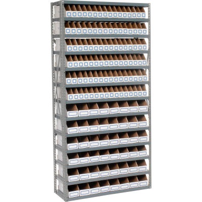 Global Industrial™ Steel Open Shelving with 144 Corrugated Shelf Bins 13 Shelves - 36x12x73