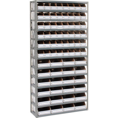 Global Industrial™ Steel Open Shelving with 72 Corrugated Shelf Bins 13 Shelves - 36x12x73