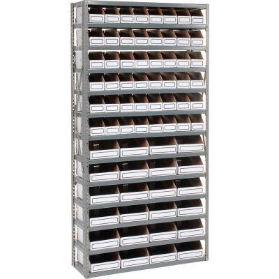 Global Industrial™ Steel Open Shelving with 72 Corrugated Shelf Bins 13 Shelves - 36x18x73