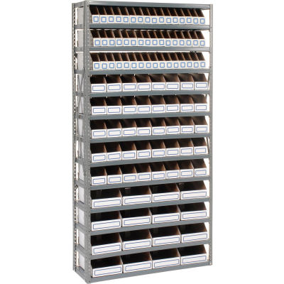 Global Industrial™ Steel Open Shelving with 104 Corrugated Shelf Bins 13 Shelves - 36x18x73
