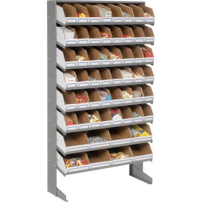 Global Industrial™ Floor Bin Rack - 56 Corrugated White Bins No Print