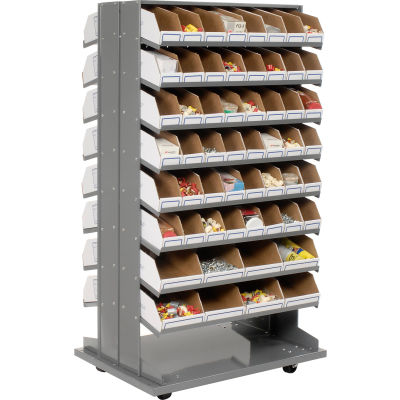Global Industrial™ Mobile Double Sided Bin Rack - 112 Corrugated White Bins No Print