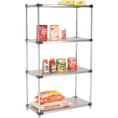 "Nexel® Stainless Steel Solid Shelving Starter 36""W x 18""D x 63""H"