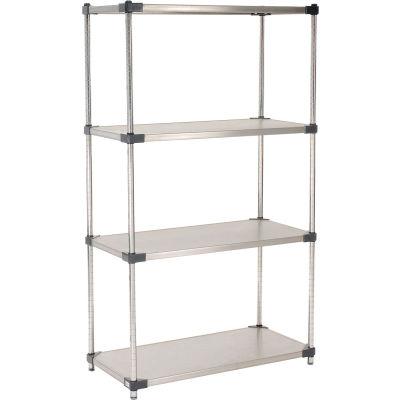 "Nexel® Stainless Steel Solid Shelving Starter 36""W x 24""D x 63""H"