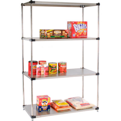 "Nexel® Stainless Steel Solid Shelving Starter 48""W x 24""D x 63""H"