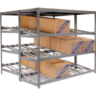 "Global Industrial™ Carton Flow Shelving Double Depth 3 LEVEL 96""W x 96""D x 84""H"