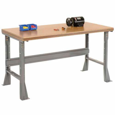 Global Industrial™ 60 x 30 x 34 Fixed Height Workbench Flared Leg - Shop Top Safety Edge - Gray