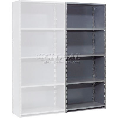 """Global Industrial™ Steel Shelving 20 Ga 48"""" Wx24"""" Dx97"""" H Closed Clip 5 Shelves Add-On"""