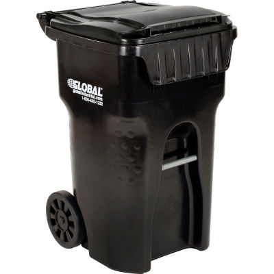 Global Industrial™ Mobile Trash Container, 65 Gallon Black