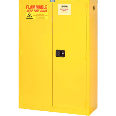 "Global Industrial™ Flammable Cabinet, 44 Gallon Manual Close Double Door, 34""W x 18""D x 65""H"