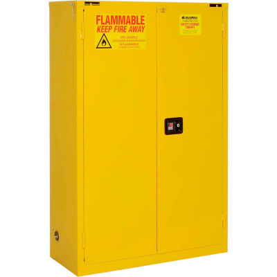 "Global Industrial™ Flammable Cabinet, 45 Gallon, Self Close Double Door, 43""W x 18""D x 65""H"